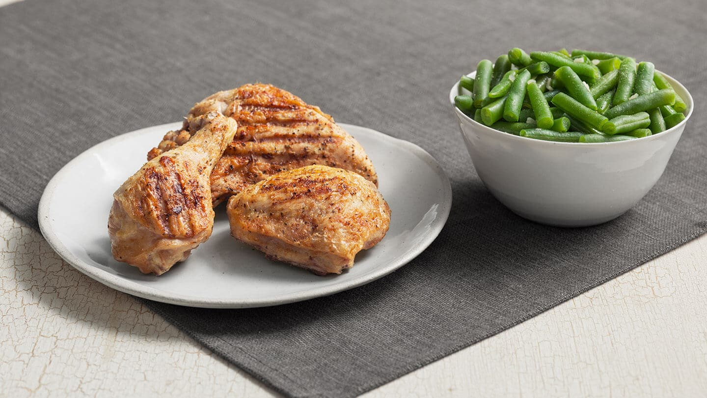 Keto at KFC, grilled chicken and green beans